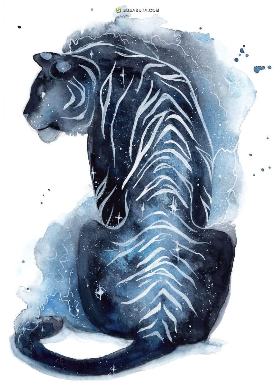 Three Leaves 水彩和动物 手绘魔法插画