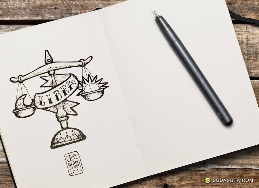 Abe Green 手绘纹身本子