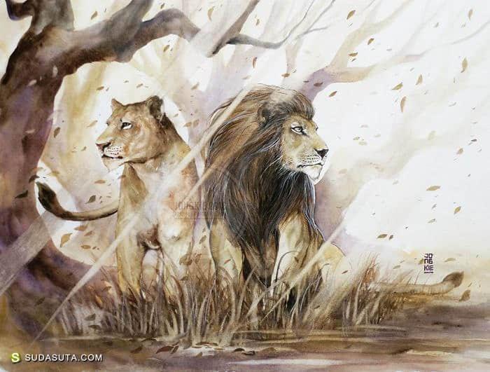 Jongkie 的手绘水彩动物插画
