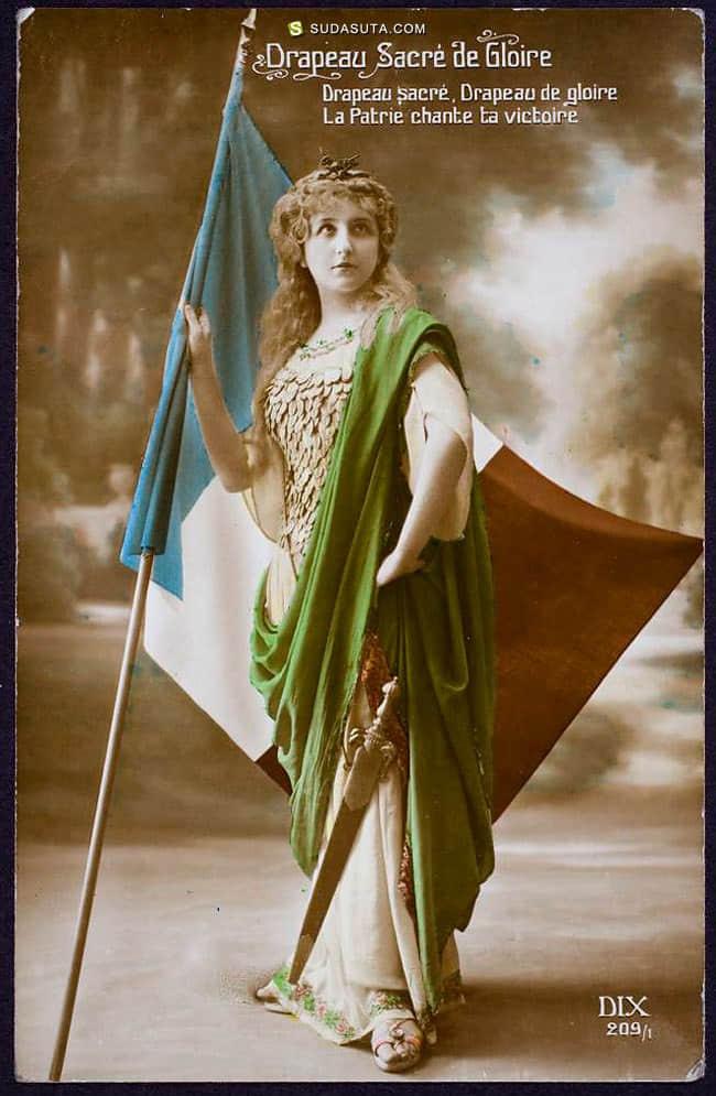 法国浪漫彩色化的葡萄酒明信片