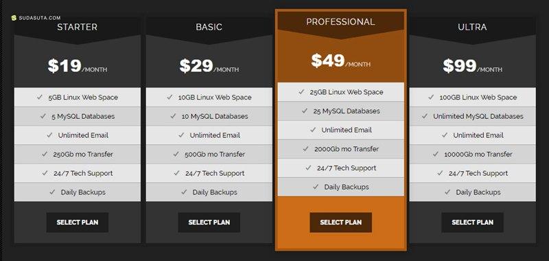 20个定价表的CSS代码段免费下载