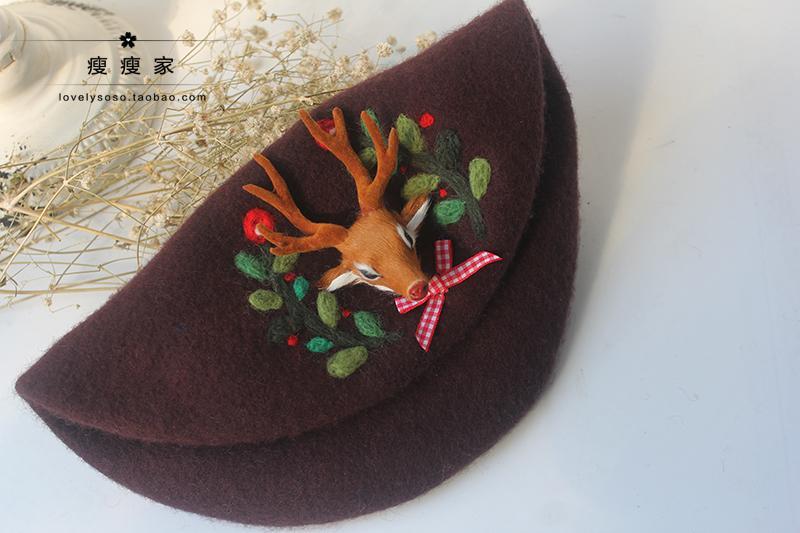 瘦瘦家手工羊毛毡帽饰 充满魔法的礼物