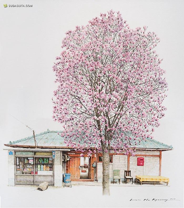Me Kyeoung Lee 城市自然插画欣赏