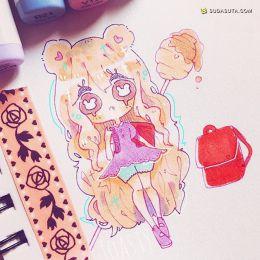 toastymilk 粉红少女心 可爱的二次元手绘涂鸦