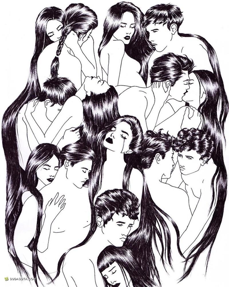Sivan Karim 黑白线条 手绘插画欣赏