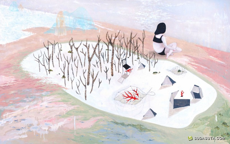 Mandy Cao 纤细而敏感的女生插画