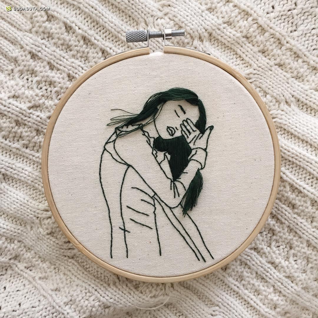 刺绣艺术家Sheena Liam 刺绣的长头发