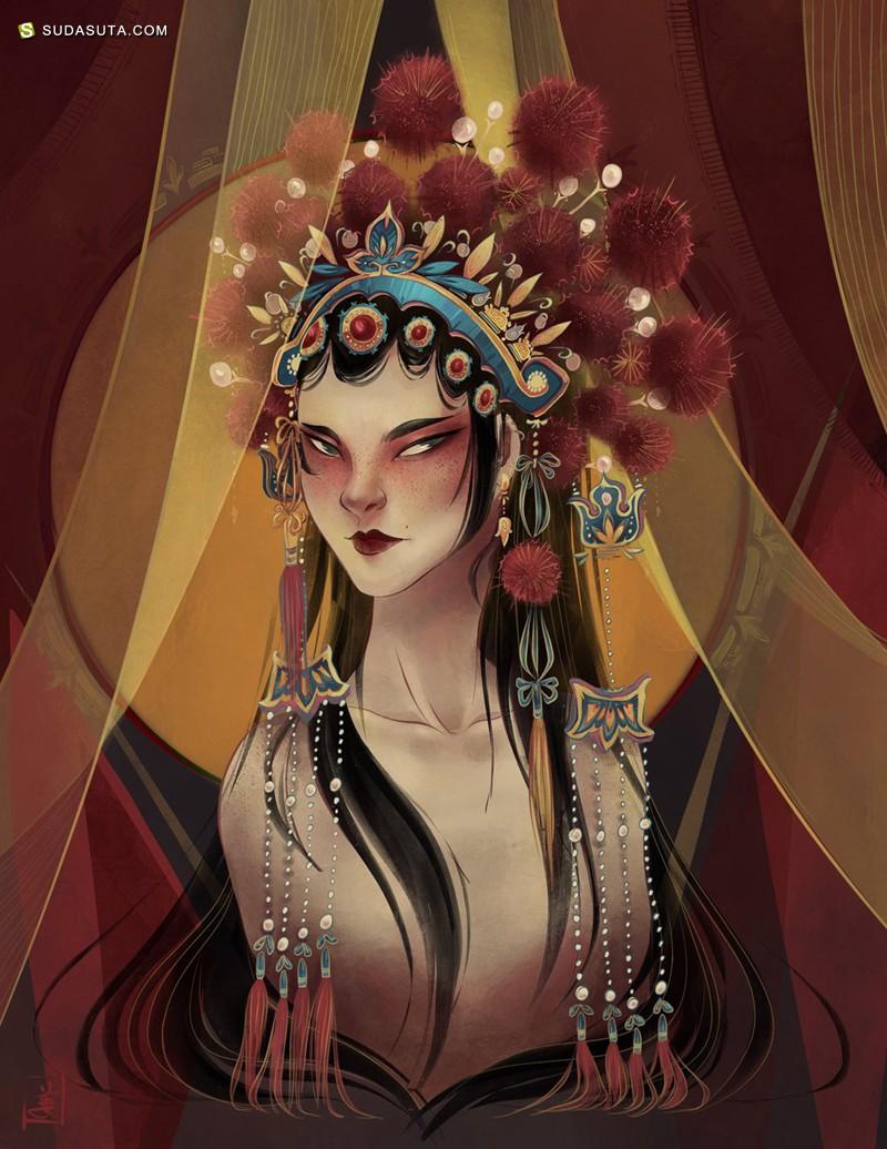 Tina Jiang 中国风绘画艺术欣赏
