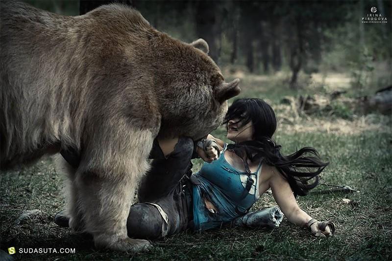 Irina Pirogova 熊与少女 摄影作品欣赏