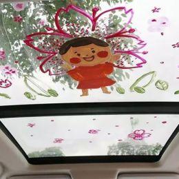 在车窗上画画
