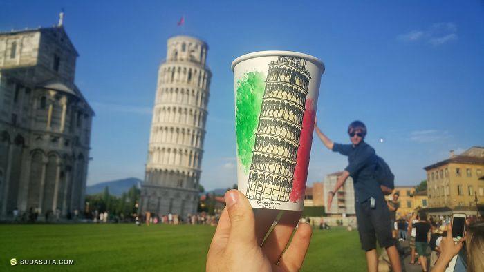 Berk Armagan 路过世界 在咖啡杯上作画