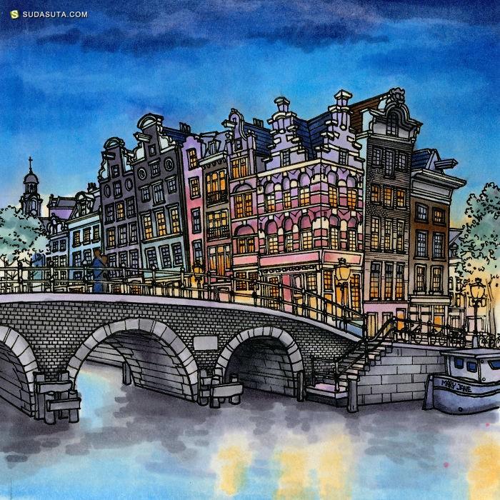 Maxwell Tilse 一边旅行一边画画