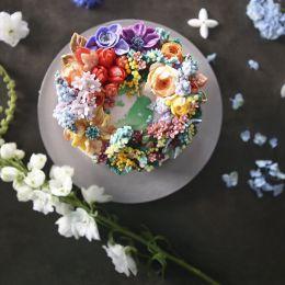 청담 수케이크 幸福满满的花型蛋糕