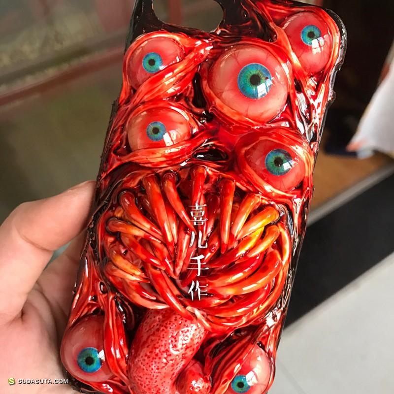 恐怖的囍儿手工手机壳