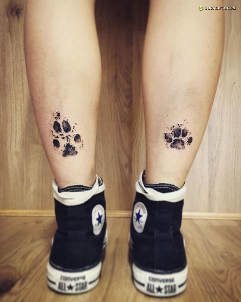 狗爪爪纹身设计欣赏