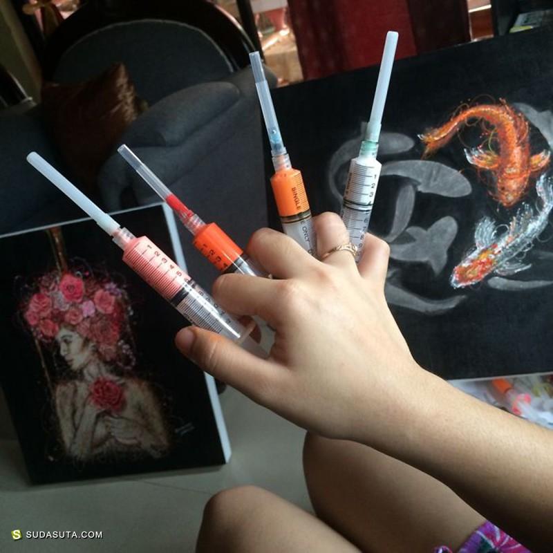 Kimjoymm 针管绘画!不可思议的注射艺术!