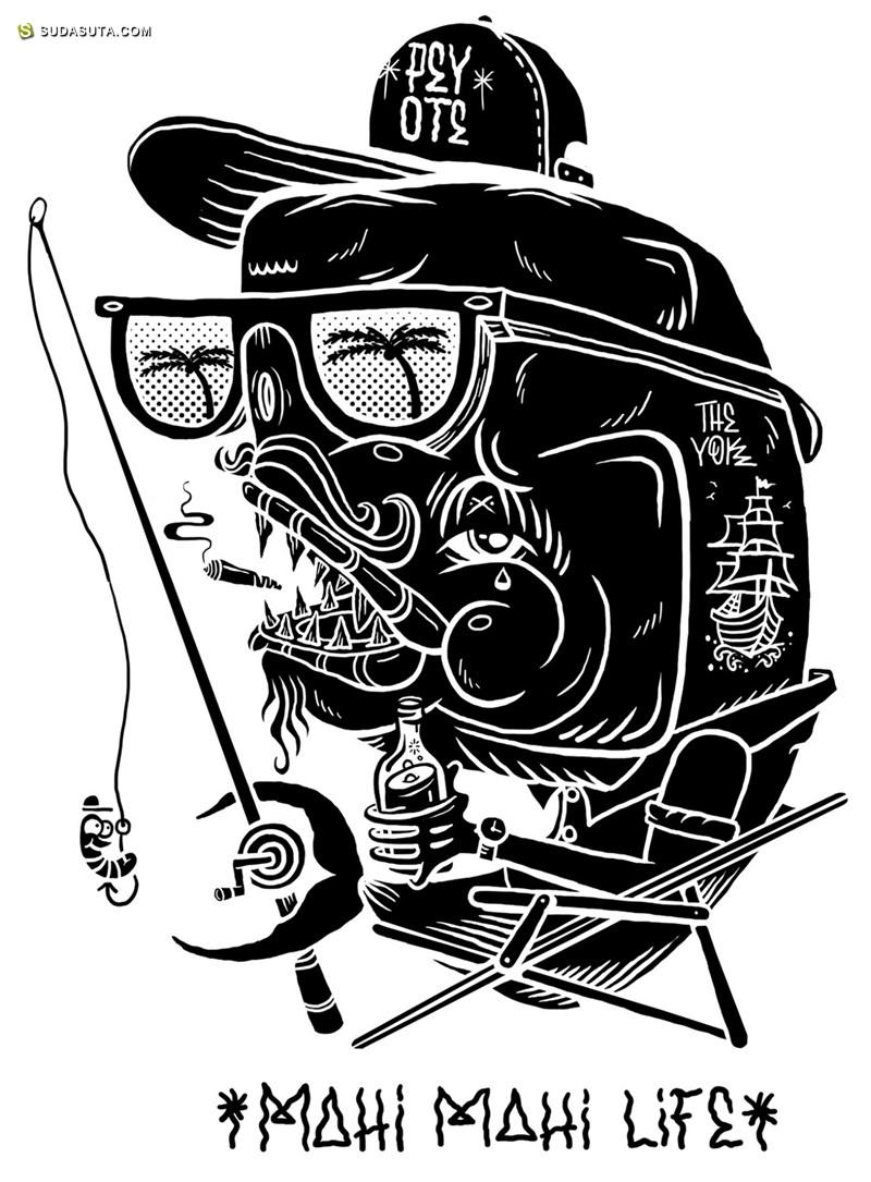 YOK and SHERYO 黑白潮流插画欣赏