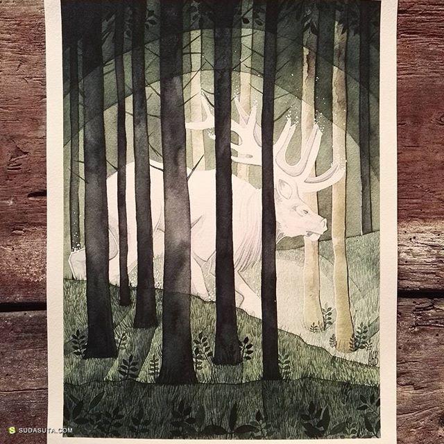 Anna Bjørdal 手绘水彩卡片