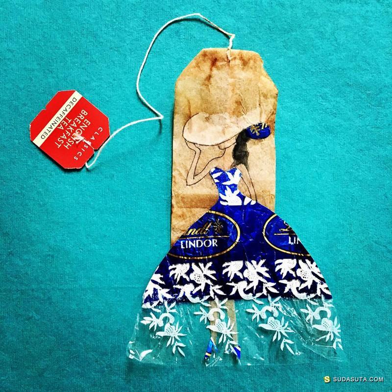 Ruby Silvious 茶袋上的混合艺术