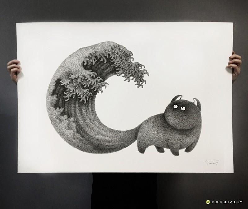 Kamwei Fong 有趣的黑白手绘喵星人