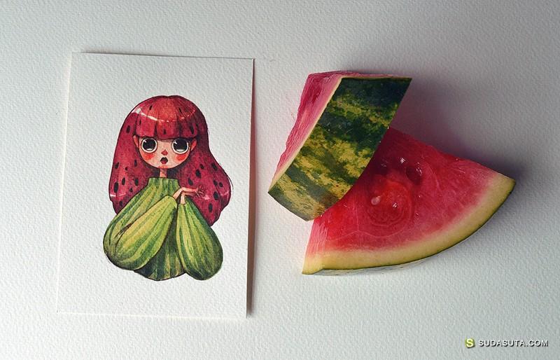 Marija Tiurina 水果和手绘插画