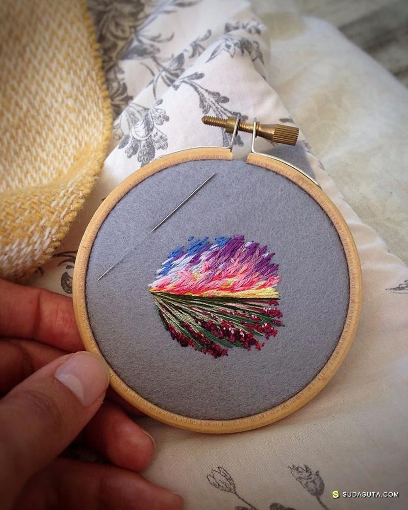 Vera Shimunia 用针线绘画