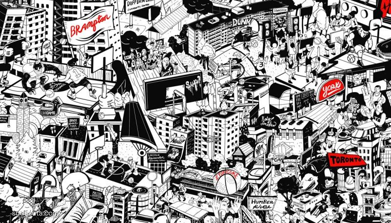 Carson Ting 巨幅温哥华手绘地图