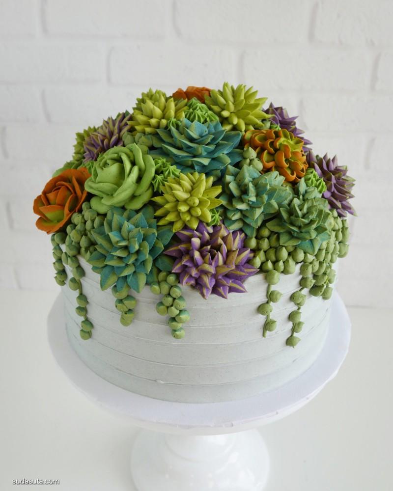 Leslie Vigil 多肉植物和蛋糕设计欣赏