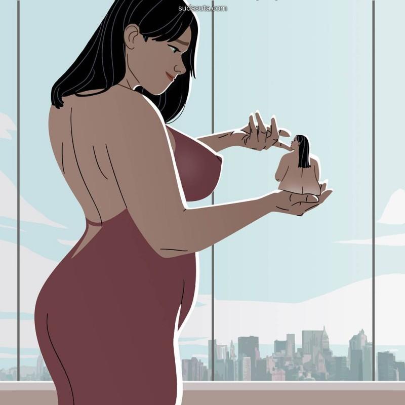 Gabriele Pennacchioli 胖女孩 可爱有趣的卡通大码女生