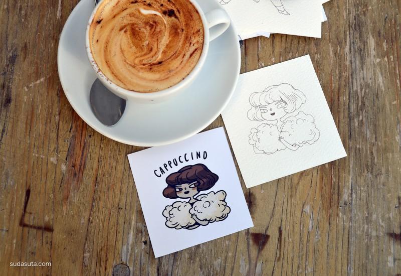 Marija Tiurina 咖啡的手绘造型设计