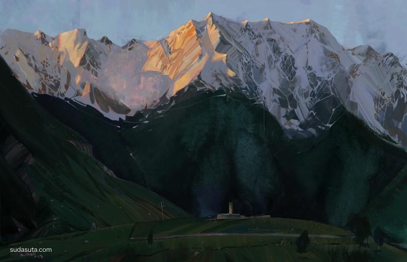 Rinat Khabirov 手绘风景 混合艺术欣赏