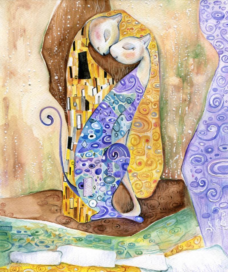 Veselka Velinova 世界名画与猫