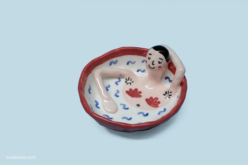 不一样的陶瓷手作 粉色的寻死少女