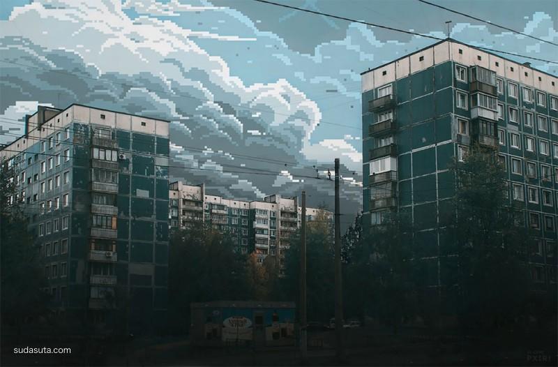 Битый пиксель 二次元建筑天空