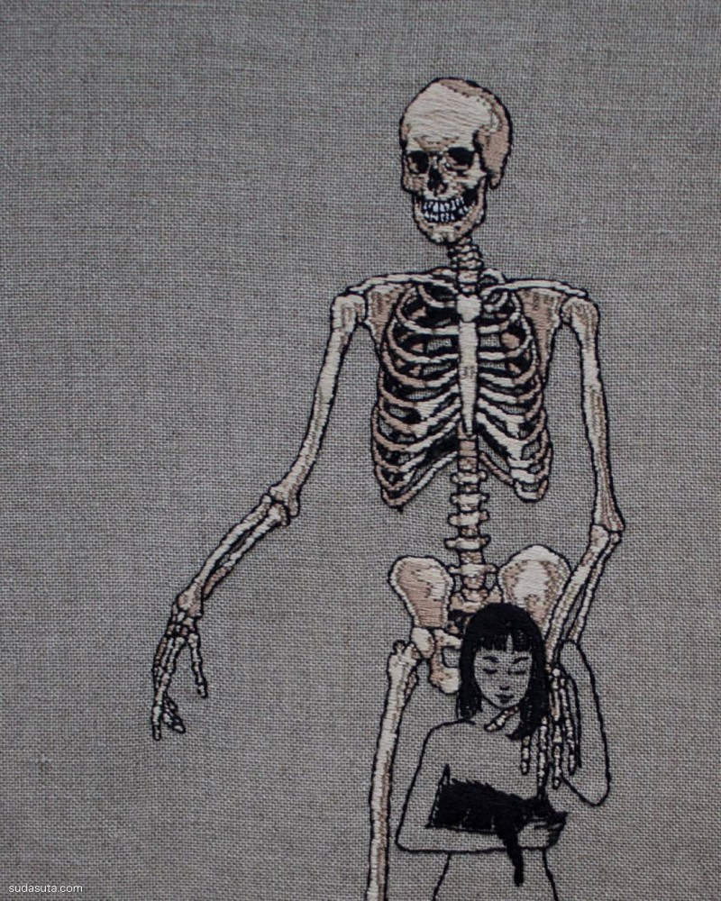Adipocere embroidery 骷髅与少女 刺绣艺术欣赏