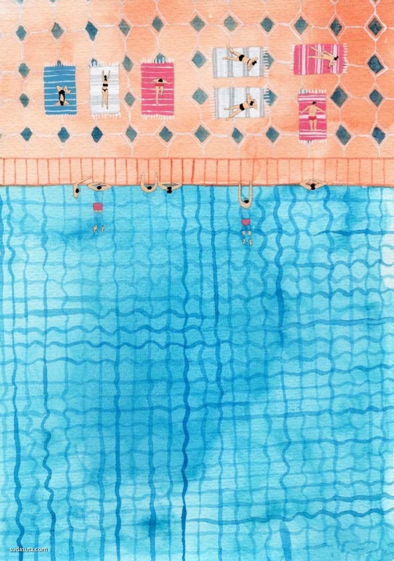 Joanne Ho 夏日的游泳池 水彩插画欣赏