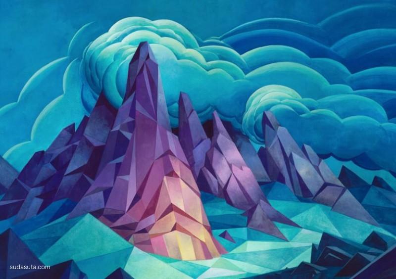 Laura Bifano 色彩的多边形山峰