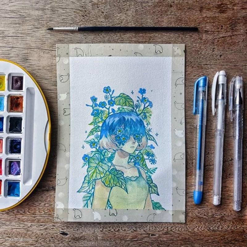 Margareth 手绘水彩插画