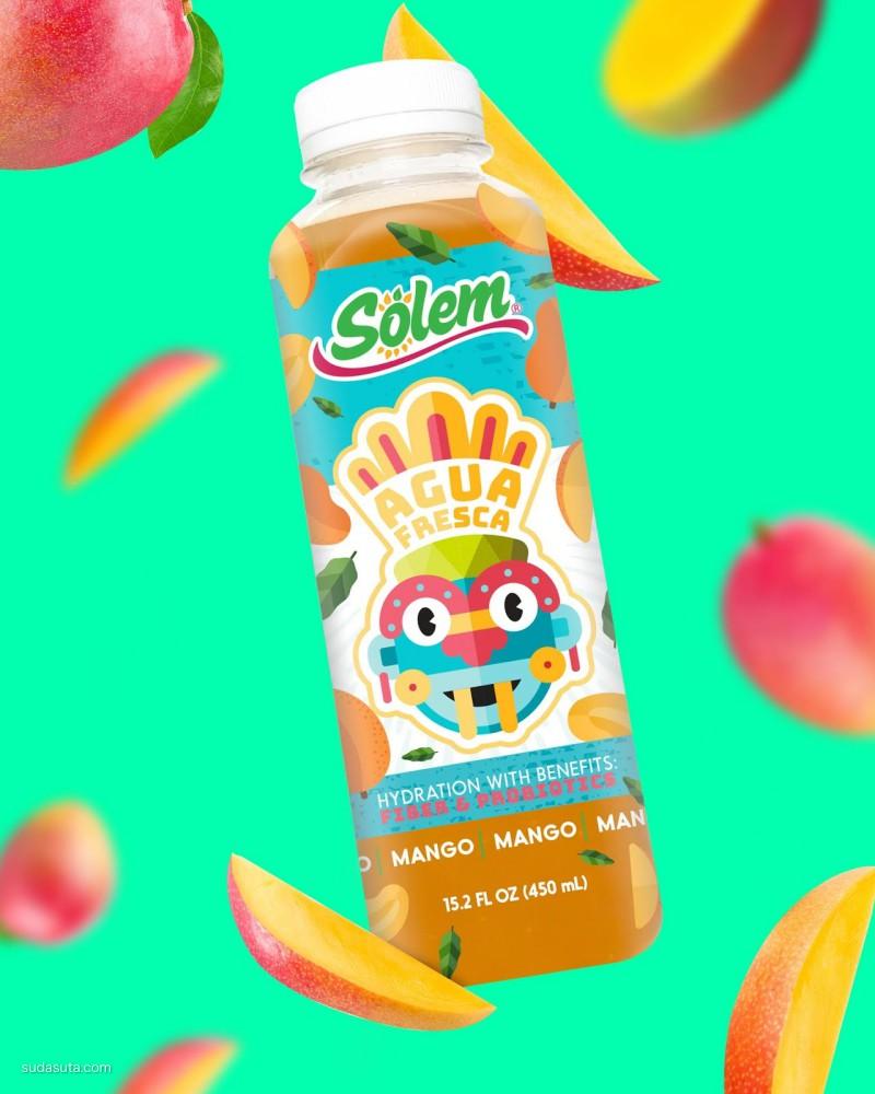 Solem Agua Fresca 新鲜的水果汁 包装设计欣赏