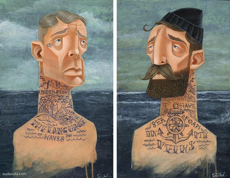 Sean Talamini 木头上的手绘插画