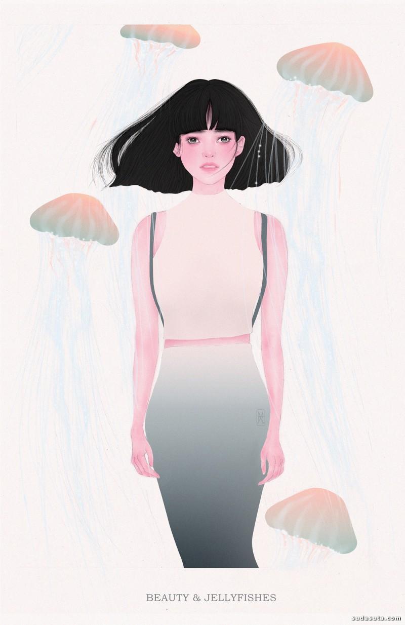Helen Xu 细腻唯美的人像时尚插画