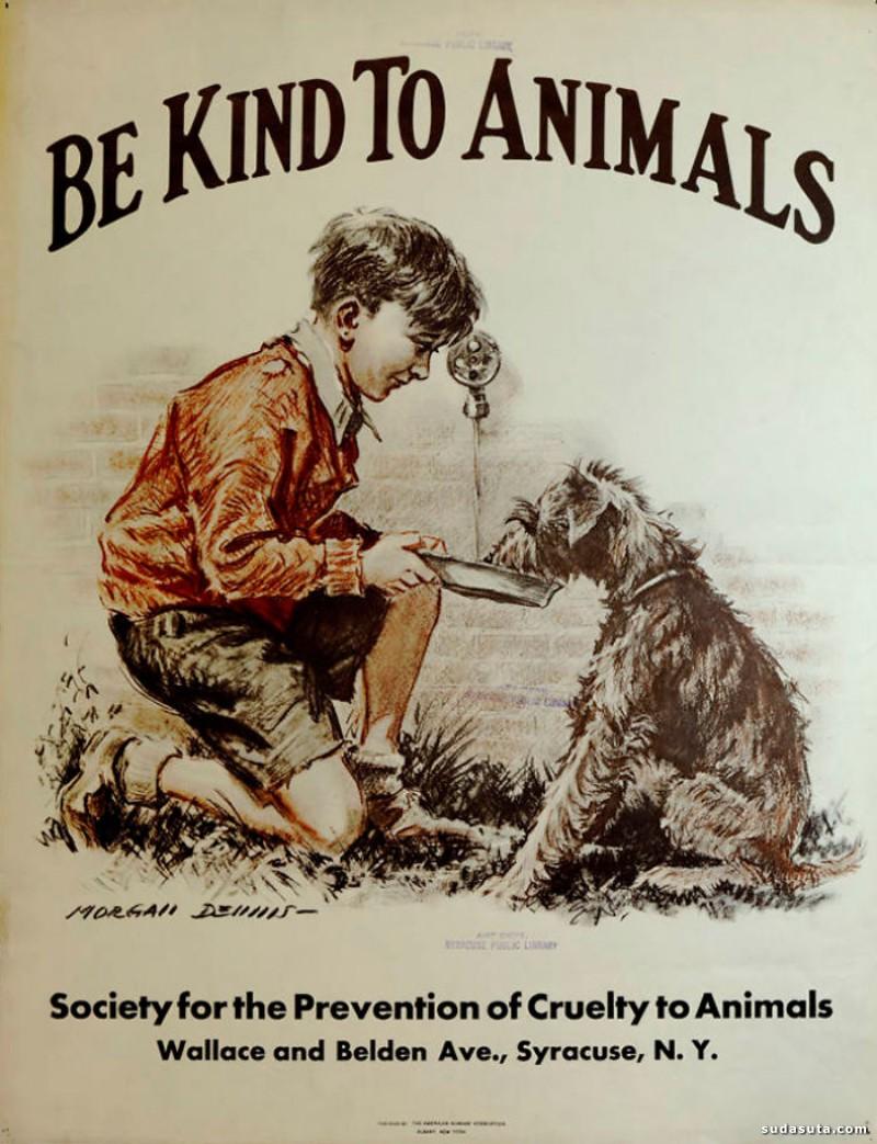 狗狗与猫猫的复古招贴欣赏