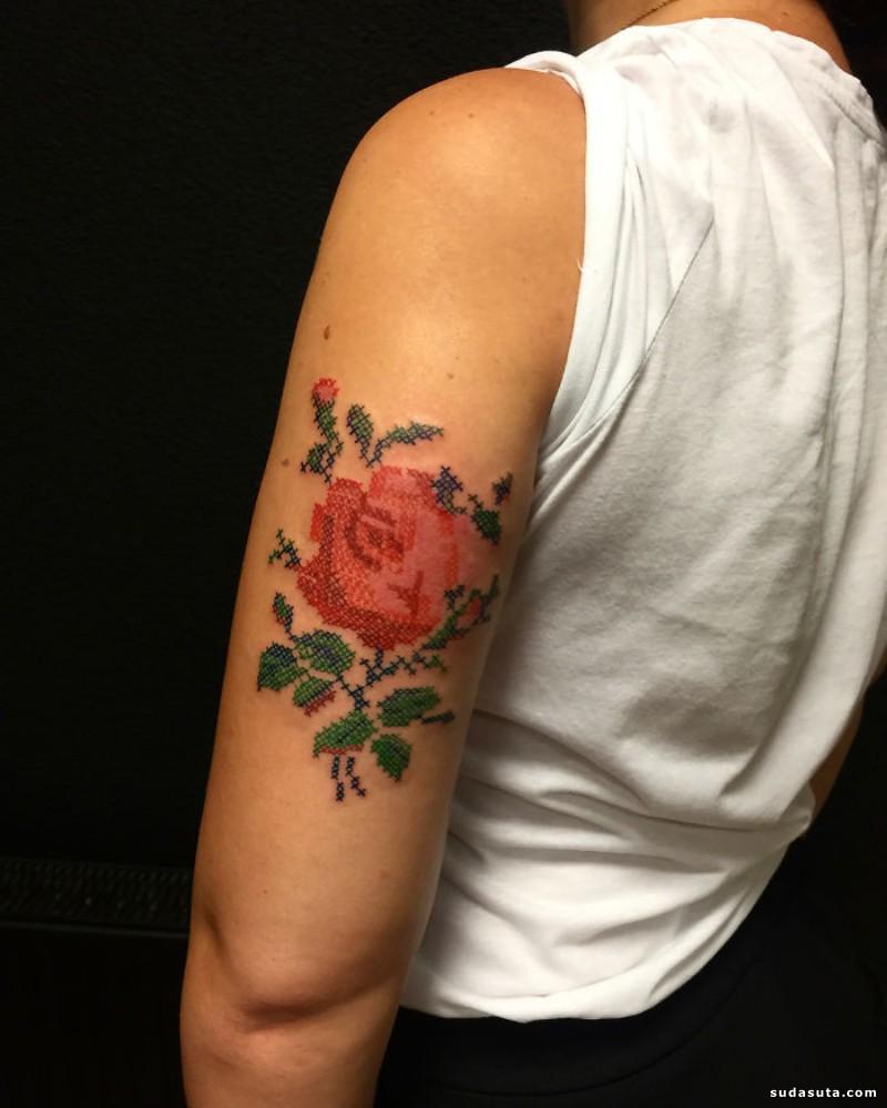 不可思议的刺绣纹身设计欣赏