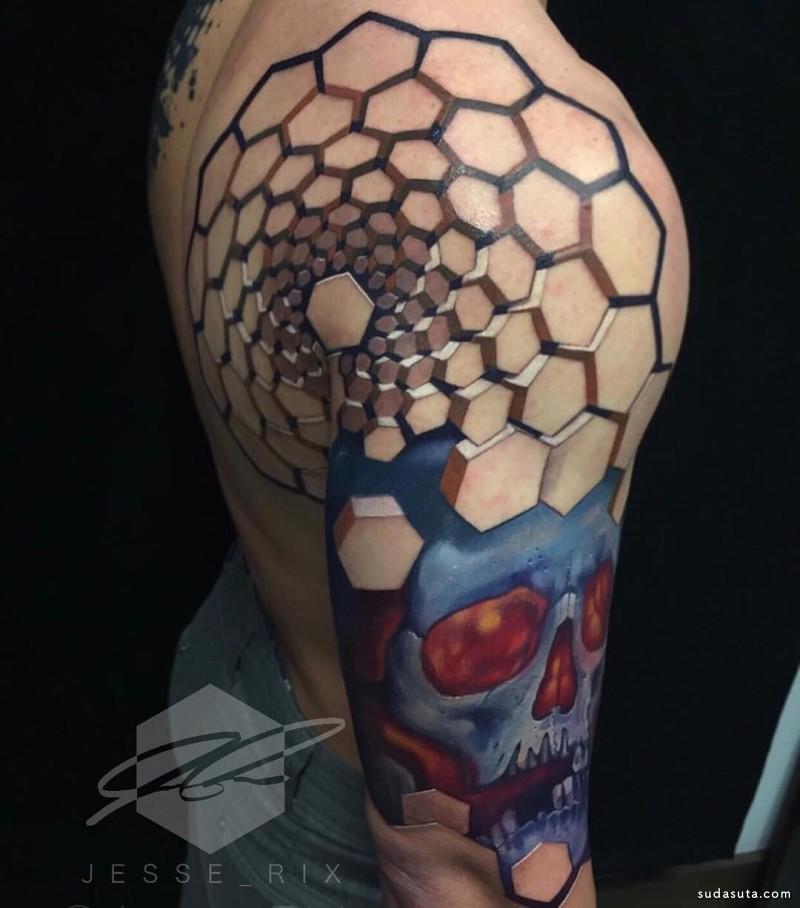 Jesse Rix  3D 立体纹身设计欣赏