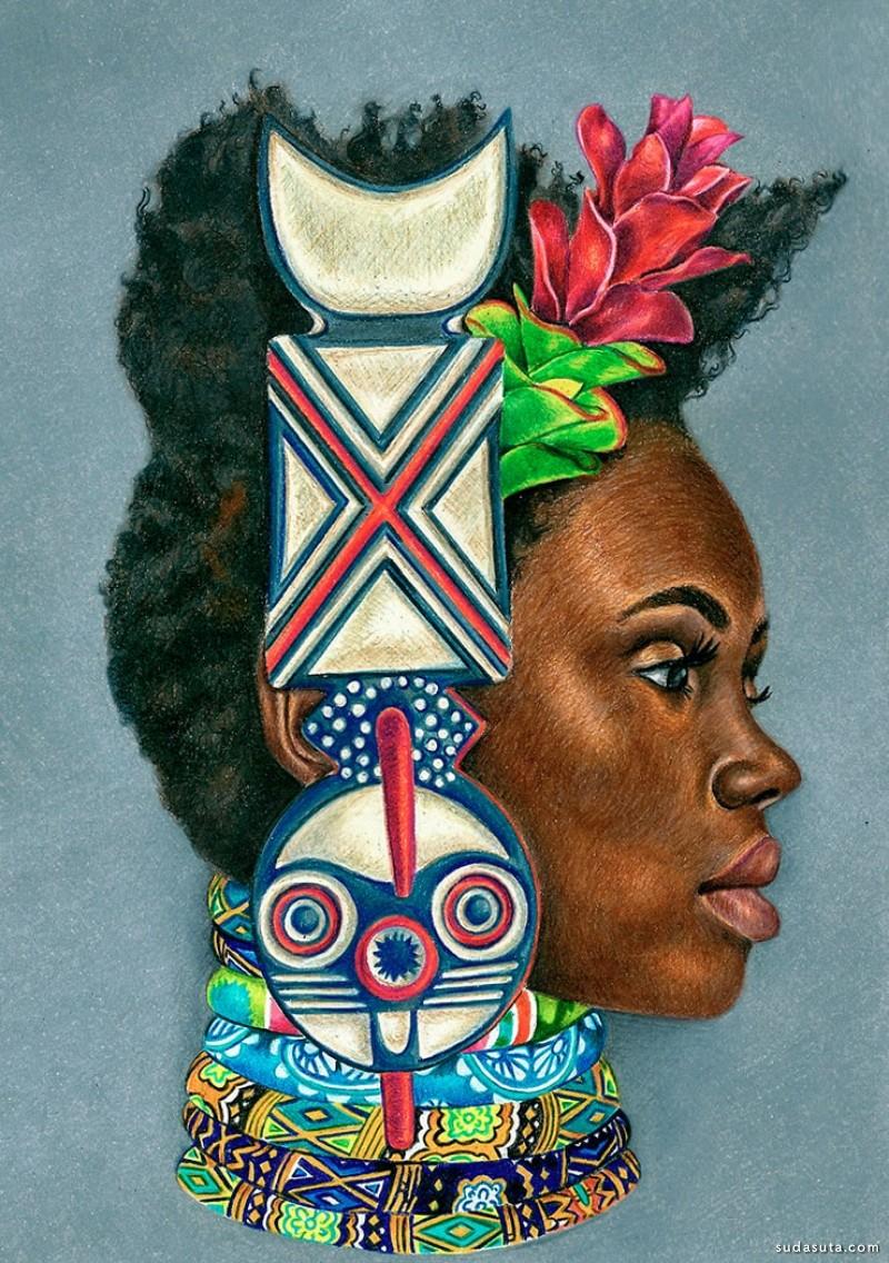 Josh Sessoms 灵感来自非洲文化的插画作品