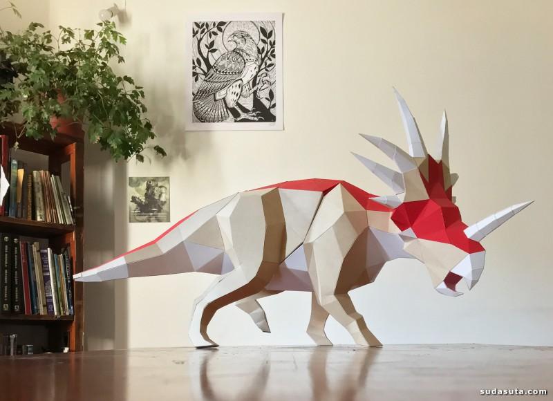Seba Naranjo 折纸的恐龙艺术