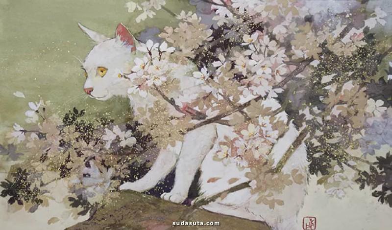鹿間麻衣 温暖的午后与花 绘画艺术欣赏