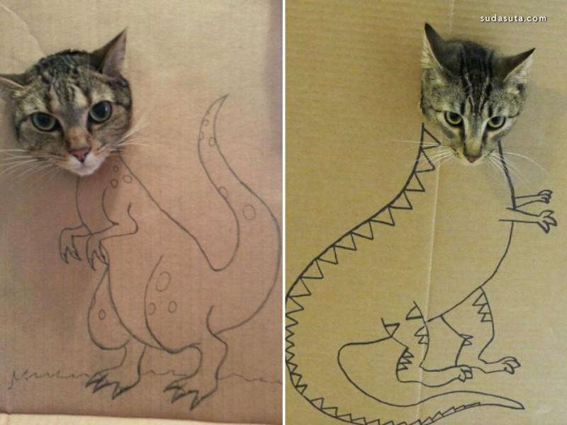 纸板猫艺术 猫咪的不一样的艺术