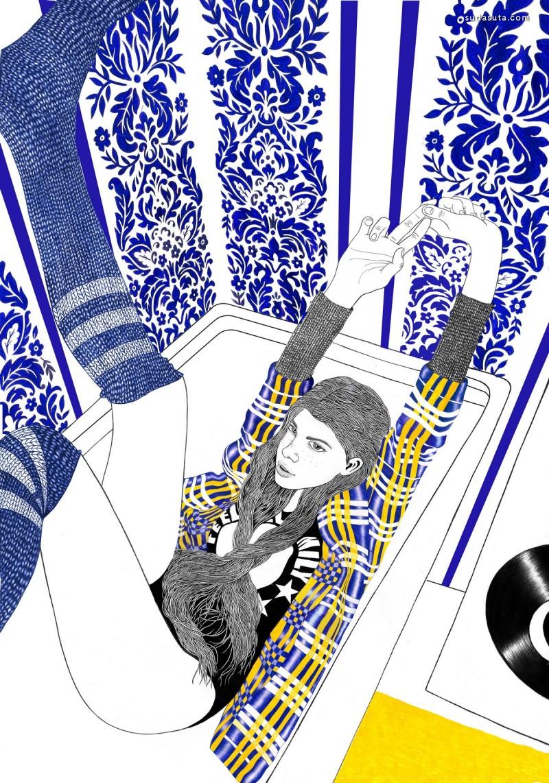 Helena Hauss 超现实主义圆珠笔插画