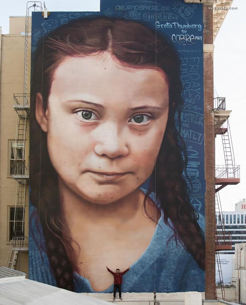 诺贝尔和平奖提名人 Greta Thunberg 巨幅城市绘画